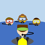 Scuba Courses Button: A group of cartoon student divers learning from their instructor.
