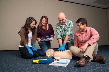 Instructor teaching a CPR class.