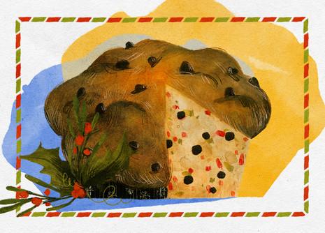 Xmas postcard food illustration
