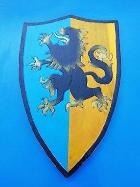 Bouclier lion bi couleur Bleu/jaune