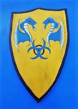 Bouclier Dragon cracheurs de feu  Bleu/Jaune