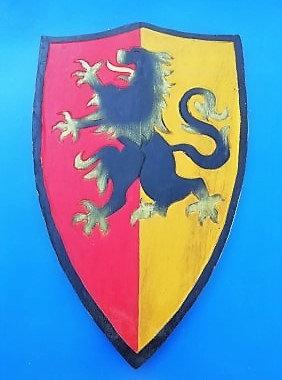 Bouclier Lion bi couleur jaune/rouge