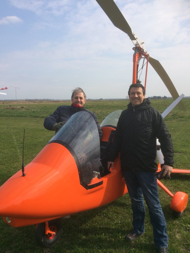 Owen Brooking and Pietro Magni looking happy after flying Owen's new M16