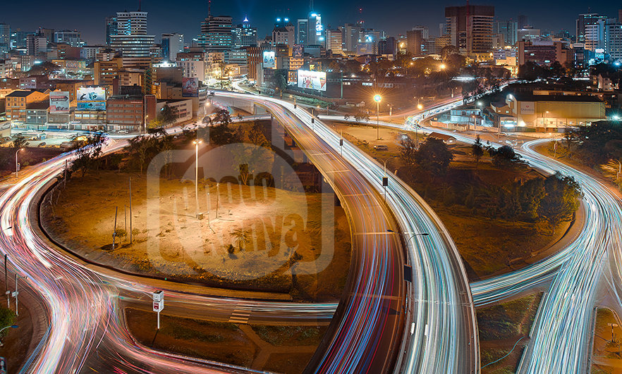 Print: Nairobi Globe Roundabout at Night (DWL)