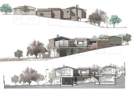 Maison en ossature bois respectant la topographie du terrain Facades et coupe  (projet réalisé en agence d'architecture)