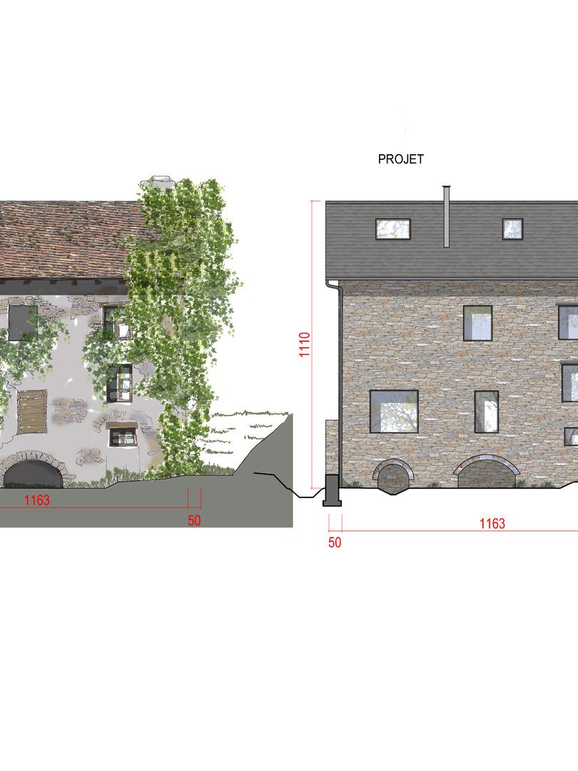 Réhabilitation d'un moulin en habitation bâtiment en pierre Facade Sud_ Etat existant et Projet
