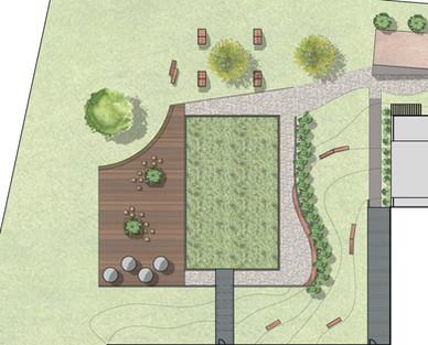 Création d'un jardin naturel autour des bâtiments de bureaux aménagement d'espaces de détente et de coins fumeurs abrités