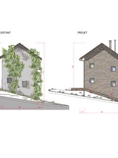 Réhabilitation d'un moulin en habitation Facade Ouest_état existant et projet