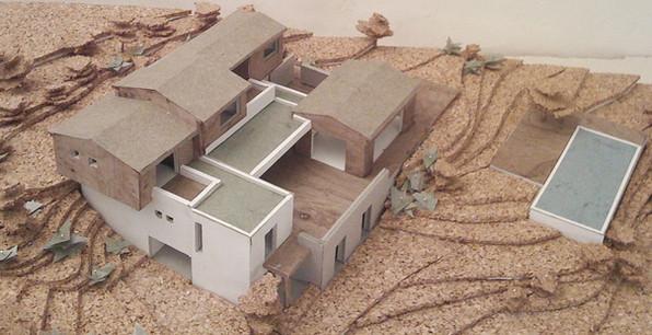 Maquette Construction neuve pierre/béton/bois (projet réalisé en agence d'architecture)
