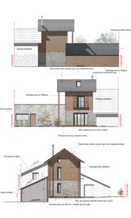Réhabilitation d'une grange en pierre et extension pierre et bois Facades