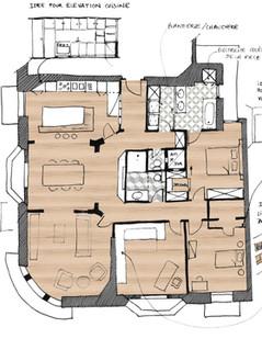 Rénovation d'un appartement à Annecy, immeuble Art Déco construit en 1933 Plan d'esquisse