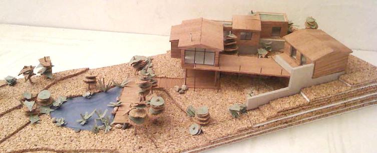 Maison en ossature bois respectant la topographie du terrain naturel Maquette  (projet réalisé en agence d'architecture)