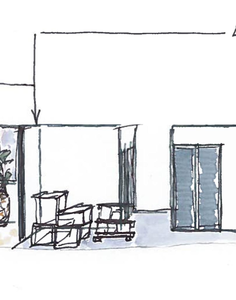 Aménagement d'un local pour traiteur et salle de dégustation coupe croquis