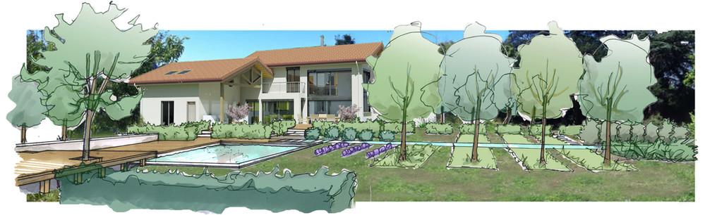 Création d'un jardin contemporain autour d'un cèdre bicentenaire Insertion du projet