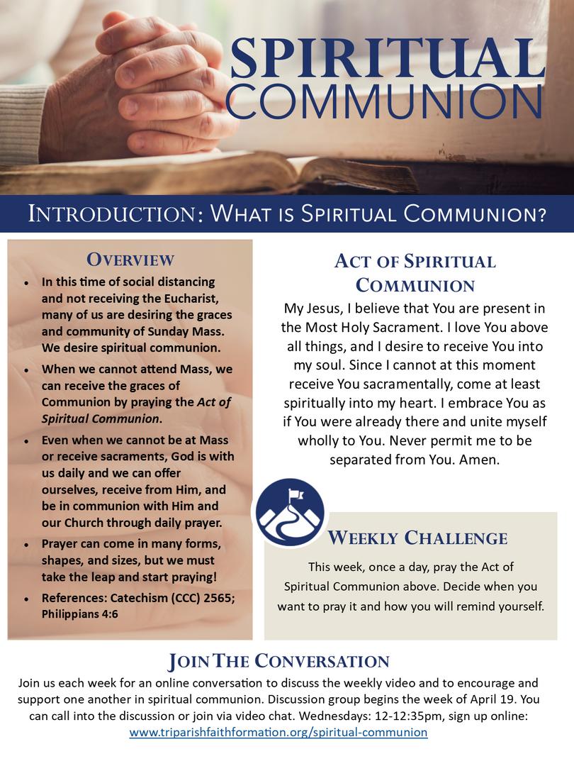 Week 1 - Spiritual Communion