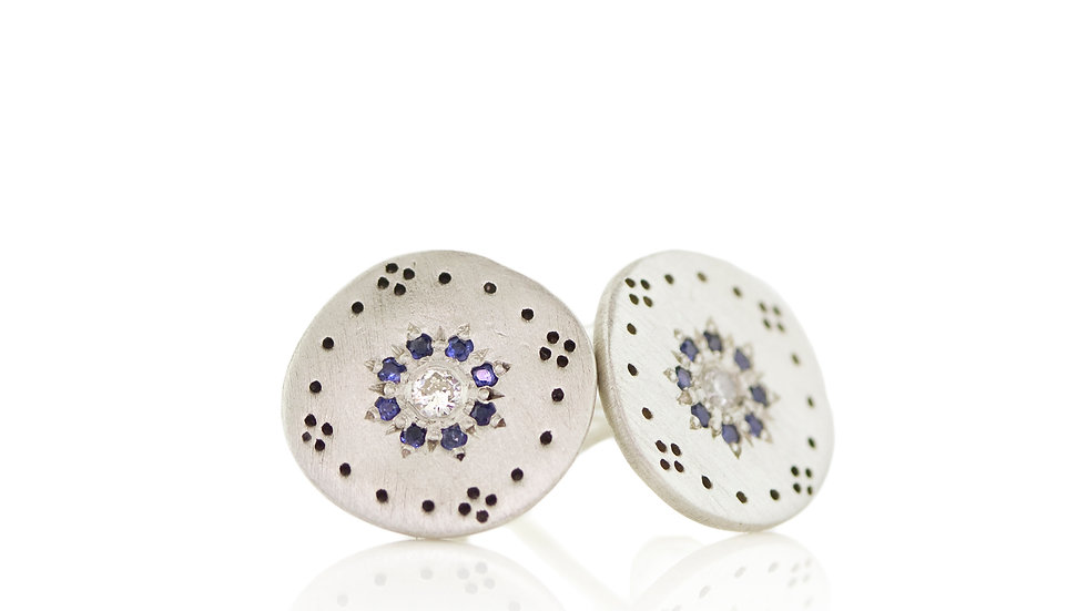 Small Cluster Sapphire Studs