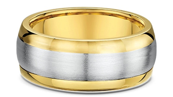 14k White and Yellow Gold 8mm Wedding Band