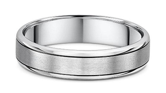 14k White Gold 5mm Polished Edge Brushed Center Wedding Band