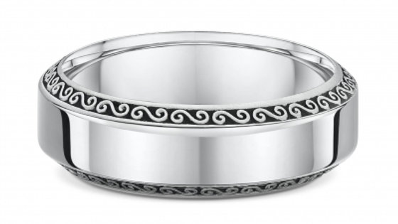 14k White Gold 6mm Swirl Edge Wedding Band