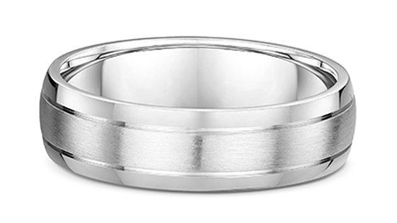 14k White Gold 6mm Brushed with Polished Edge Rounded Wedding Band