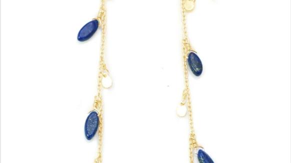 SS Vermeil Chain w/ Lapis Marquise Earring