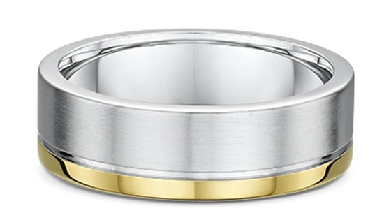 14k Yellow and White Gold 7mm Brushed and Polished Wedding Band
