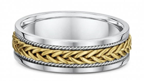 14k Yellow & White Gold 6mm Braided/Twisted Wedding Band
