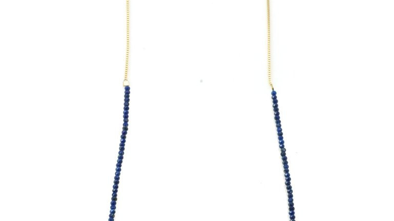 SS Vermeil Chain w/ Lapis Beads Necklace 30inch.