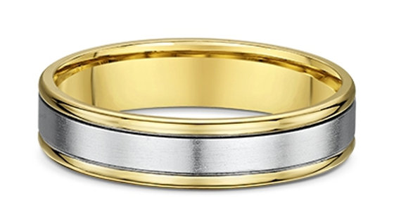 14k White and Yellow Gold 5mm Flat Wedding Band