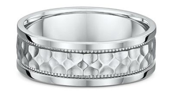 14k White Gold 7mm Hammered Center with Milgrain Wedding Band