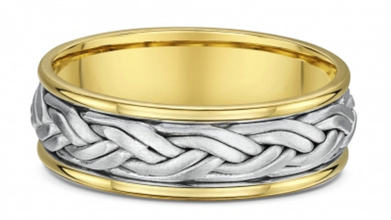 14k White & Yellow Gold 7mm Double Braided Wedding Band