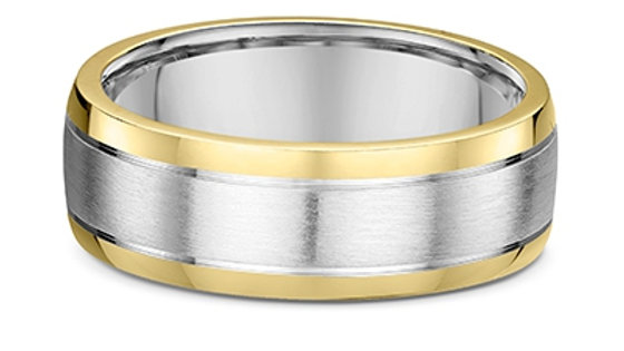14k White & Yellow Gold 8mm Brushed Center with Polished Edges Wedding Band