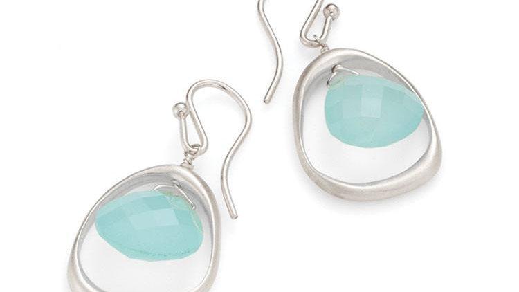 SS Open Circle Chalcedony Earrings
