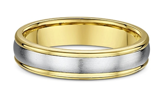 14k White & Yellow Gold 5mm Domed Wedding Band