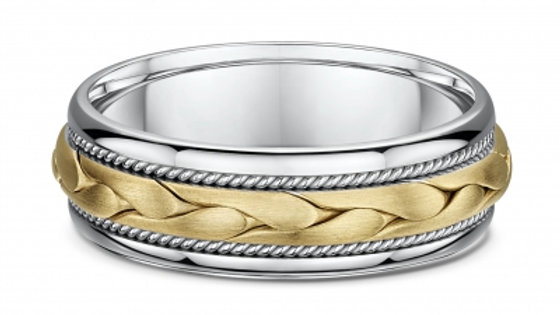 14k Yellow & White Gold 7mm Braided Center with Twist Edge Wedding Band