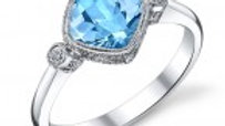 14kw Blue Topaz Ring sz.9