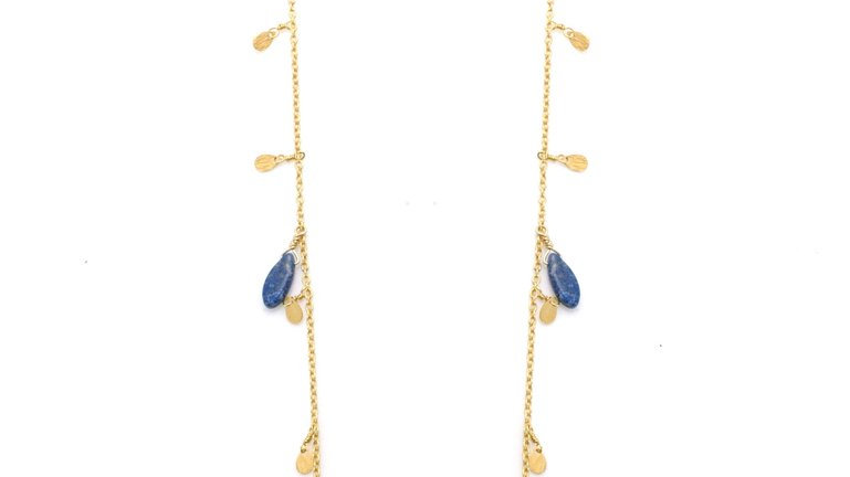 SS Vermeil Chain w/ Lapis Marquise Necklace 36inch.