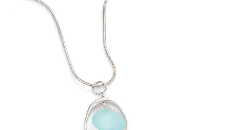 SS Open Circle Chalcedony Necklace
