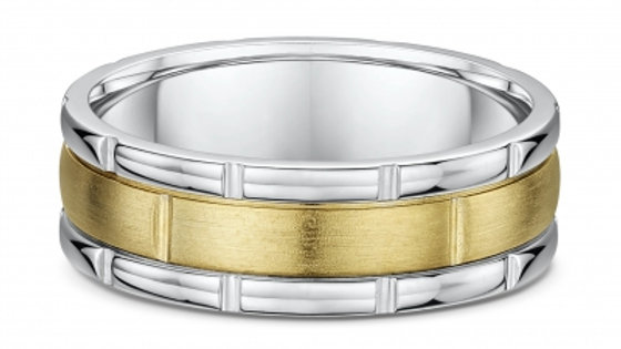 14k Yellow and White Gold 7mm Notched Wedding Band