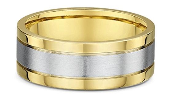 14k White and Yellow Gold 8mm Flat Wedding Band