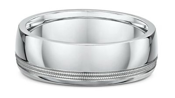 14k White Gold 7mm Milgrain Detail Wedding Band