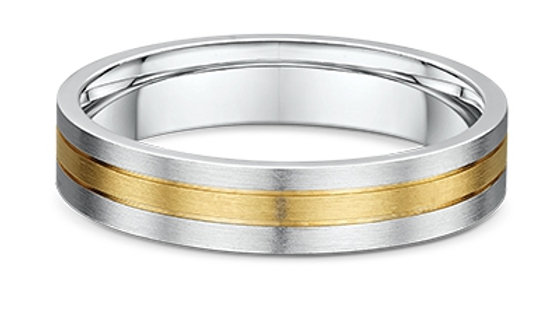 14k White & Yellow Gold 5mm 3-banded Wedding Band