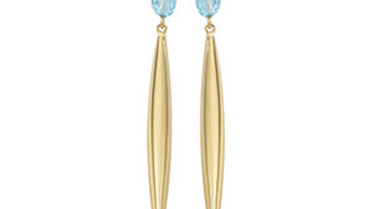 Flat Oval Blue Topaz Earrings