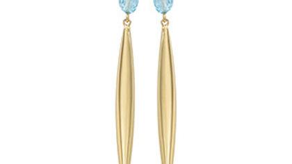 Flat Oval Blue Topaz Earrings