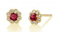 14ky Ruby/Dia. Earrings 3mm