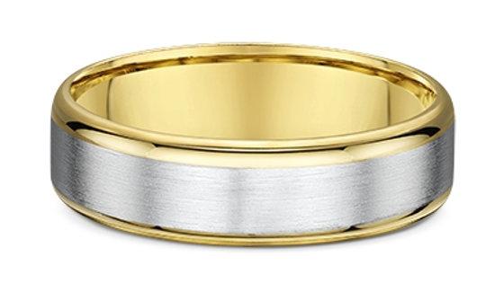 14k White & Yellow Gold 6mm Brushed Center with Polished Edge Wedding Band