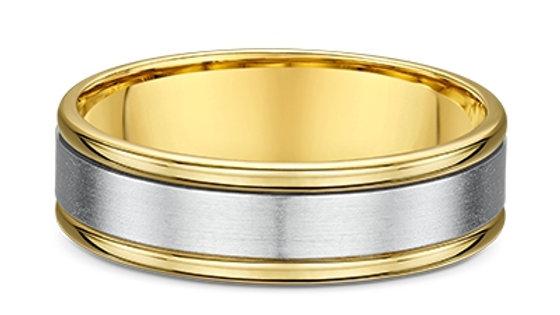 14k White Gold 7mm Brushed Center & Polished Yellow Gold Edges 7mm Wedding Band