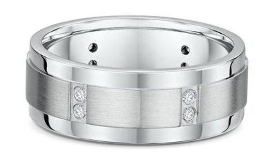 14k White Gold with Diamonds 8mm Wedding Band