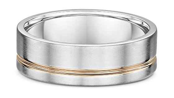 14k White with Yellow Gold 7mm Strip Wedding Band