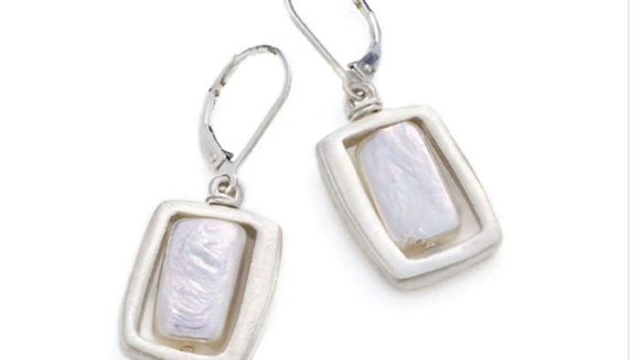 SS Square w/Pearl Earrings